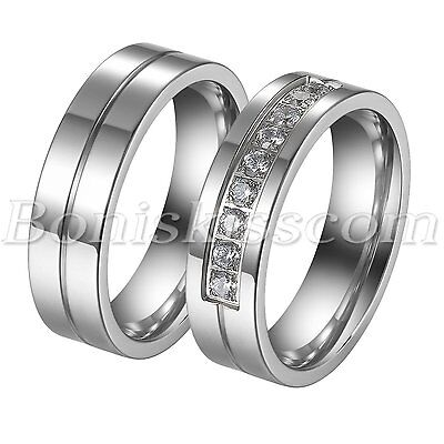 Couples Simple Stainless Steel CZ Wedding Engagement Band Ring Anniversary Gift
