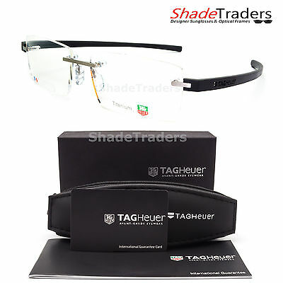 Tag Heuer Reflex Rimless Titanium Optical Glasses Frame Dark Grey Th 3941 013
