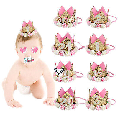 Baby First 1st Birthday Hat Cake Smash outfit Party Flower Crown  Photoshoot New