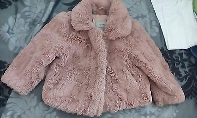 girls fur coat next 12-18 month excellent condition