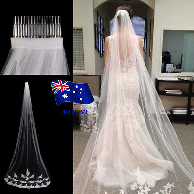 White Ivory 1T Cathedral Applique Edge Lace Bridal Wedding Veil With Comb 3M BO