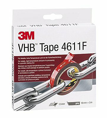3M VHB Adhesive Tape 4611F for High Temperatures and Metals, 19 mm x 3 m, 1,1 mm
