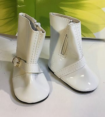 """American Girl - 1  pair of new shiny white fashion boots for 18"""" doll"""
