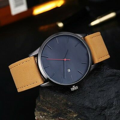 AU New Men's Date Watch Stainless Steel Leather Analogue Quartz Military Watches