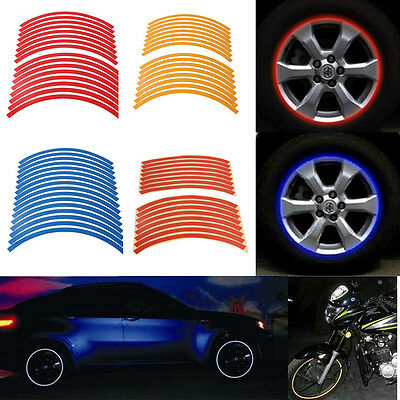 16 Strips Reflective Motorcycle Car Rim Stripe Wheel Decal Tape Stickers Decor