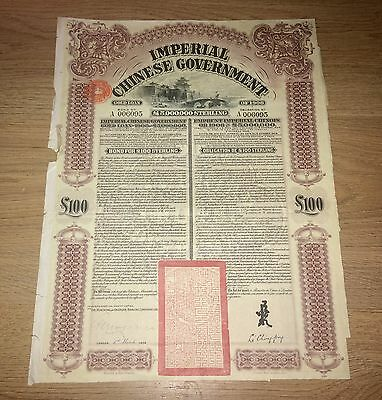 China 5% Gold Loan £100 - 1908 Imperial Chinese Government Peking-Hankow Railway