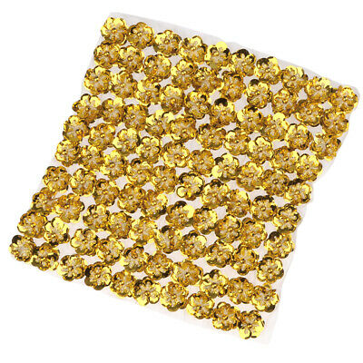 100x Sequins Beads Flower Embellishment Applique for Costume 20mm Gold