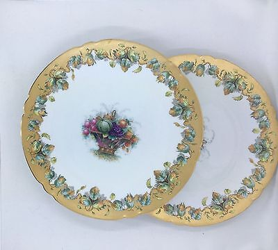 Davis Collamore Pair of Plates Fruit Baskets, Fall Leaves and Gold