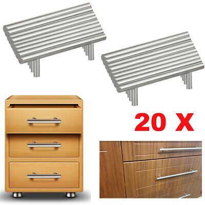 20× High Quality Stainless Steel T Bar Kitchen Door Handles Cupboard Drawer Home