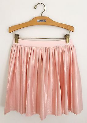 TOMMY HILFIGER Girls Pleated Skirt Size L 12/14 Peach Pink Shimmery Lined