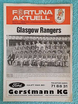 1979 - FORTUNA DUSSELDORF v RANGERS PROGRAMME - CUP WINNERS CUP 1ST ROUND