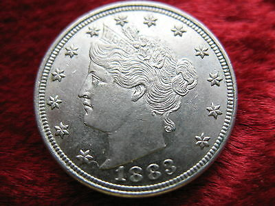 "1883-P Liberty ""V"" Nickel, ALMOST UNCIRCULATED ORIGINAL COIN! NICE! Ungraded."