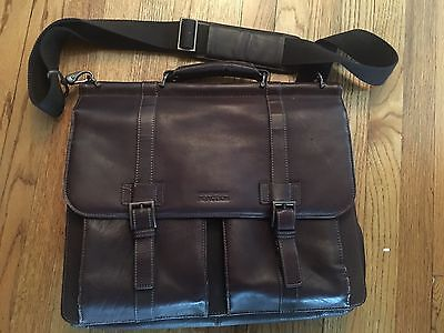 Kenneth Cole Genuine Cowhide Leather Briefcase Brown Laptop Messenger Bag