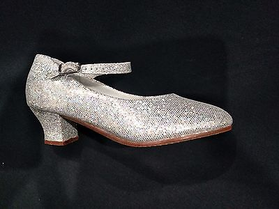 NEW Professional Song and Dance Character shoes buckle SHIMMER SILVER