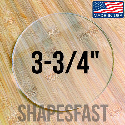 "Clear Acrylic Plexiglass 1/8"" Plastic Sheet Circle Disc 3-3/4"" (3.750) Diameter"