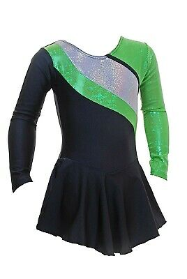 Skating Dress - BLACK LYCRA /Green/Silver HOLOGRAM  ALL SIZES AVAILABLE