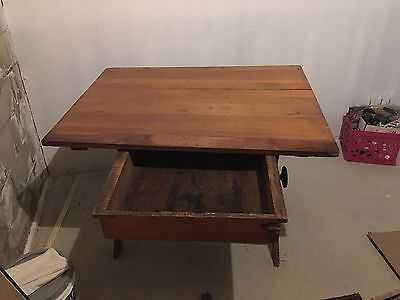 Antique Cast Iron & Wood Drafting Table Vintage Industrial