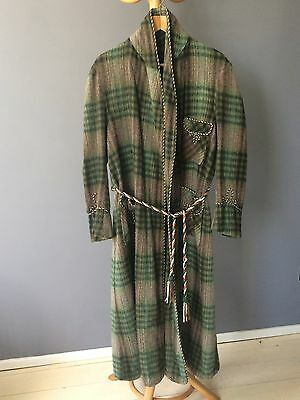 "Vintage green check wool dressing gown, large, 40/42"" chest"