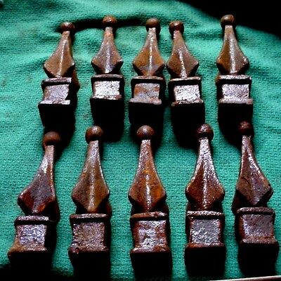 "Antique Lot of 10 Cast Iron 4"" Fence Finials 1/2"" Square Opening Never Installed"