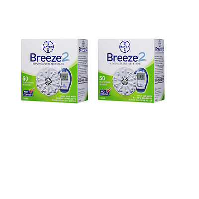 Bayer Breeze 2 Test Strips - 100 Count (2 Box of 50)