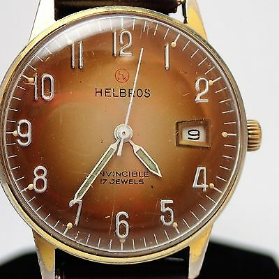 Men's Vintage Helbros Invincible 17 Jewels NICE DIAL RUNS W.GERMANY
