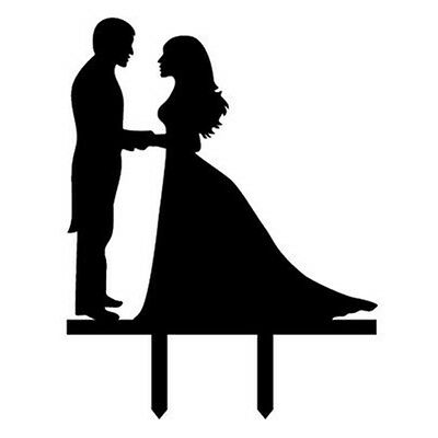 Bride and Groom Silhouette Mr. & Mrs. Acrylic Cake Topper,Style 8 M5Y2