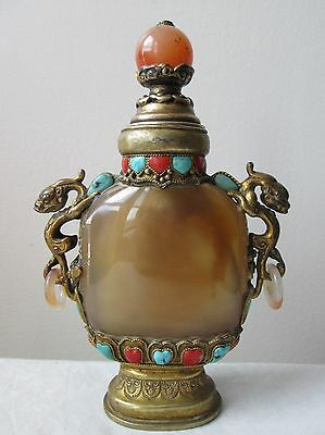 Antique 19th Century Tibet CHINESE Gilt SILVER Agate SNUFF Bottle DRAGON Handles