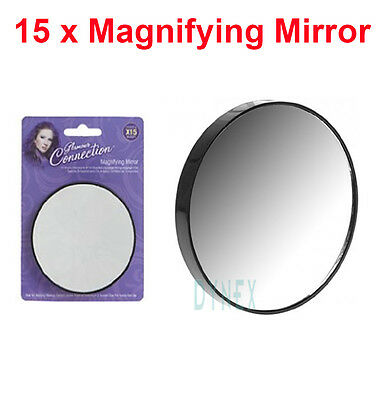 MAGNIFYING MIRROR CLOSE UP 15x MAGNIFICATION EYBROW PLUCKING EYE MAKEUP TWEEZING