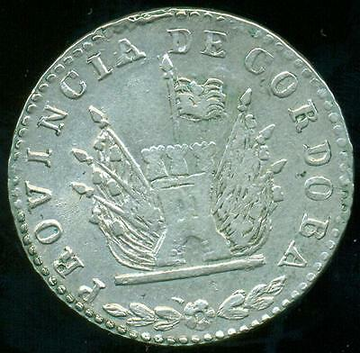 Cordoba Province Argentina Silver Coin 4 Four Reales 1851 Cj61.2.1 Xf+ Condition