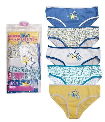 Girls Briefs Value 5 Pack Pants Blue/Yellow Stars Knickers Kids 2 to 13 Years