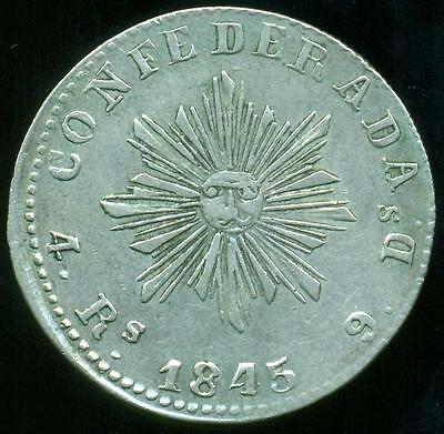 Cordoba Province Argentina Silver Coin 4 Four Reales 1845 Cj50.2.1 Xf+ Condition