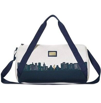 Benefit Limited Edition SF Skyline white blue large Duffle Bag Travel Carry-on