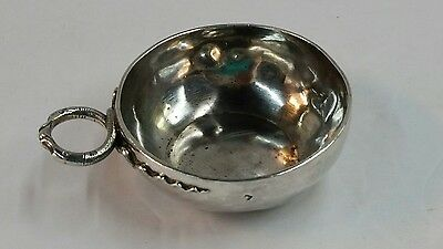 Antique French Silver Wine Tasting Cup Snake Handle Minerva Hallmark 800 Silver