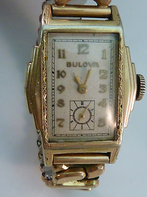 Vintage Bulova Watch 1930s Art Deco Stepped Case 10K Rolled Gold 15 Jewels 10AN