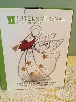 International Silversmiths Stained Glass Christmas Angel With Horn Votive Holder