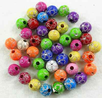 Free ship 50Pcs 10mm Mixed Color Acrylic Round Spacer Loose Beads