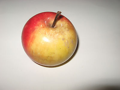 Vintage Alabaster Marble Stone Fruit Red Yellow Apple Wood Stem Carved in Italy