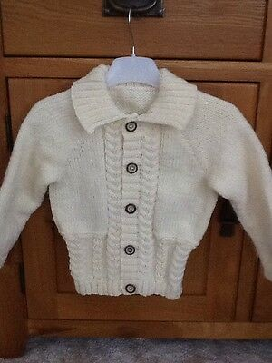 Boys Hand Knit Aran Colour Cable Cardigan With Collar To Fit Age 18-24 Months.