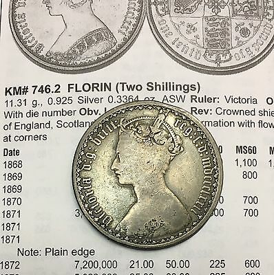 Great Britain Kingdom of England Victoria 1872 Florin Two Shillings Silver Coin