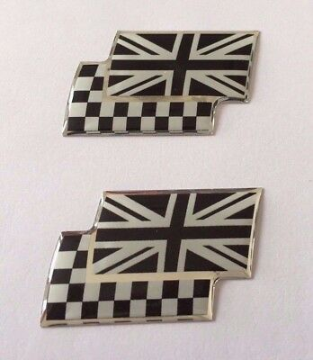 2 x UNION JACK/CHEQUERED FLAGS Sticker/Decal - CHROME/BLACK HIGH GLOSS DOMED GEL