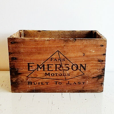 vtg Emerson Electric Mfg Co Wood Advertising Box - Motors Fans - Shipping Crate
