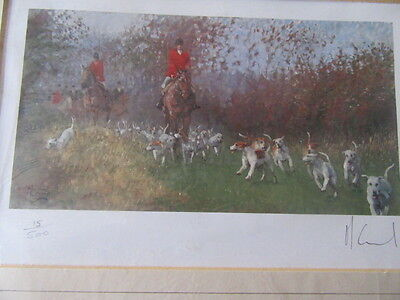 Moving On Limited Signed Edition Fox Hunting Print By Malcolm Coward Mounted