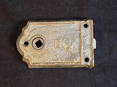 "ANTIQUE MORTISE Door Cylinder Cast Iron Working door latch 3 3/8"" L x 1 5/8"""