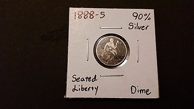 1888-S Seated Liberty Dime! 90% Silver! Free Shipping!