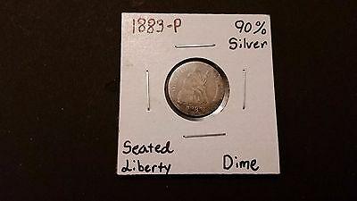 1883-P Seated Liberty Dime! 90% Silver! Free Shipping!