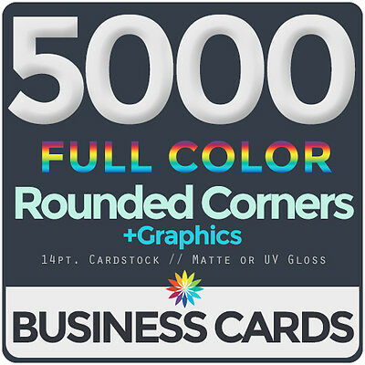 5000 Full Color Business Cards BothSides ROUNDED CORNERS, FREE DESIGN & SHIPPING