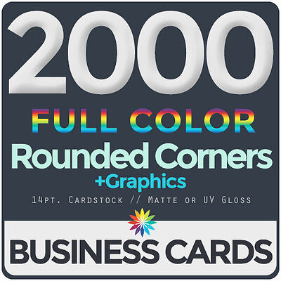 2000 Full Color Business Cards BothSides ROUNDED CORNERS, FREE DESIGN & SHIPPING