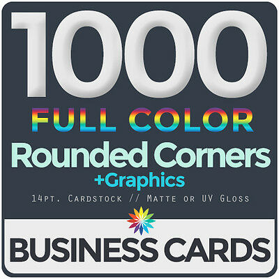 1000 Full Color Business Cards BothSides ROUNDED CORNERS, FREE DESIGN & SHIPPING