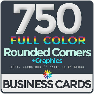 750 Full Color Business Cards BothSides ROUNDED CORNERS, FREE DESIGN & SHIPPING