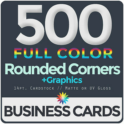 500 Full Color Business Cards BothSides ROUNDED CORNERS, FREE DESIGN & SHIPPING
